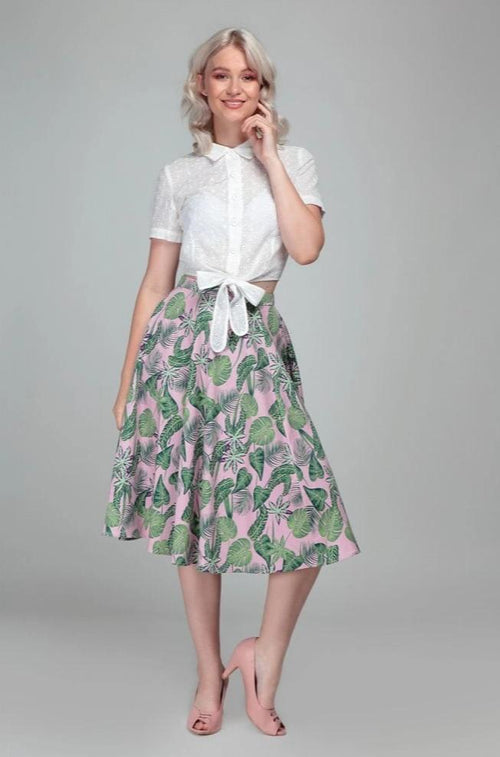 Matilde Pink Forest Skirt by Collectif