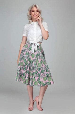 Matilda Pink Forest Skirt by Collectif