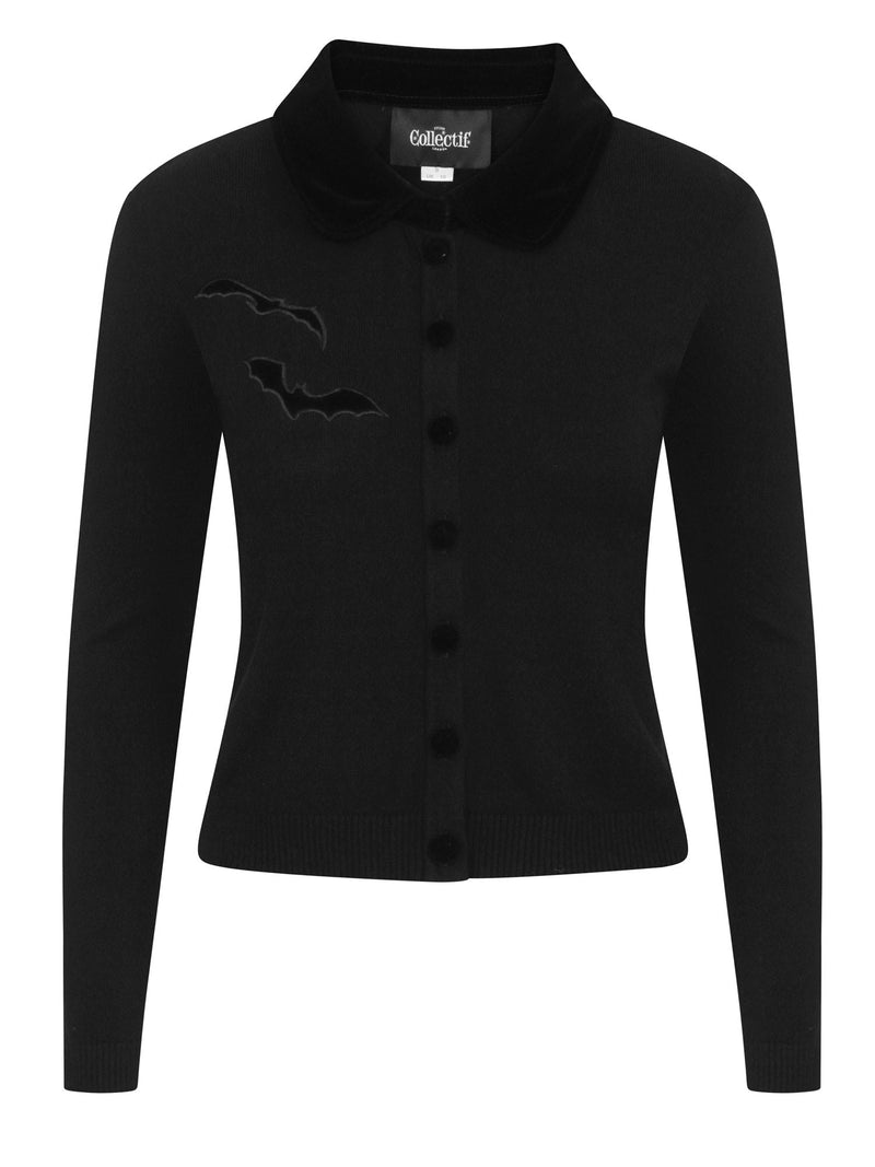 Millicent Black Bats Cardigan Sweater by Collectif