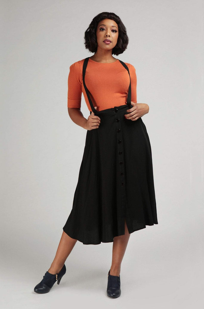 Morgan Midi Pinafore Skirt in Black by Collectif