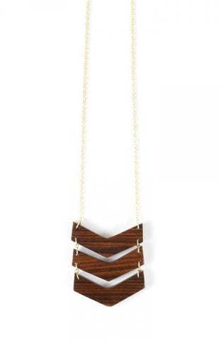 Chevron Necklace in Wood by Mata Traders