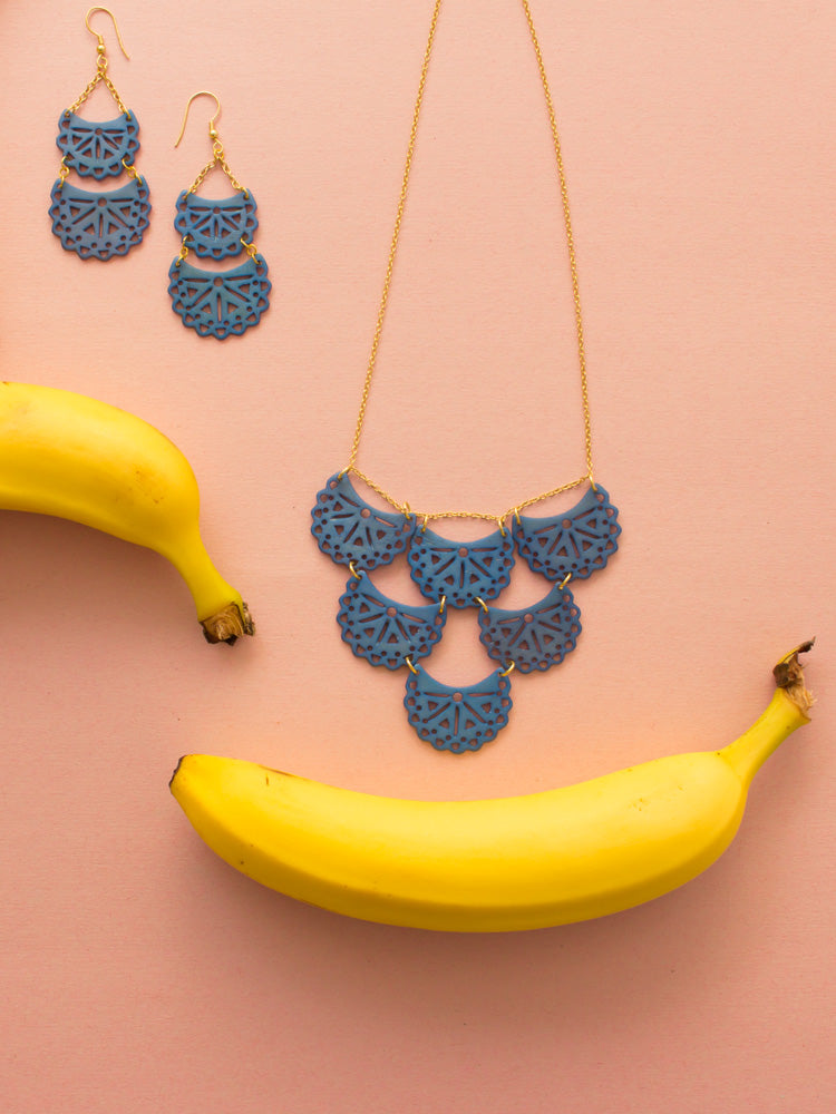 Etched Crescent Necklace in Blue by Mata Traders