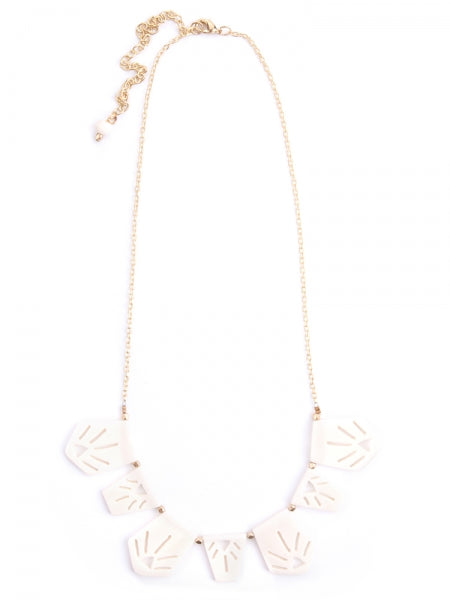 Irena Etched Necklace in White by Mata Traders