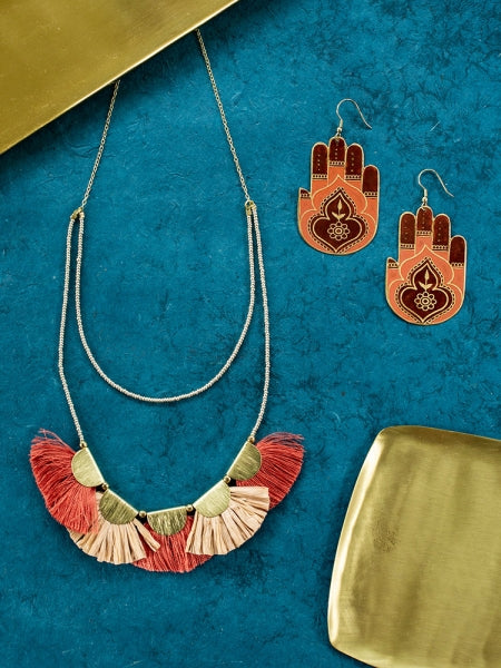 Raffia Fan Necklace by Mata Traders