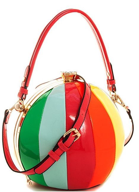 Neon Rainbow Patent Ball Shaped Satchel Handbag