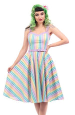 Nova Rainbow Striped Swing Dress by Collectif