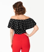 Black with White Polka Dots Frenchie Top by Unique Vintage