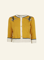 Mustard Embroidered Eagle Vera Cardigan by Palava