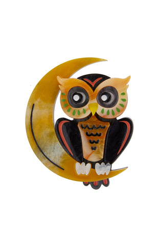 A Moon with View Owl Brooch by Erstwilder