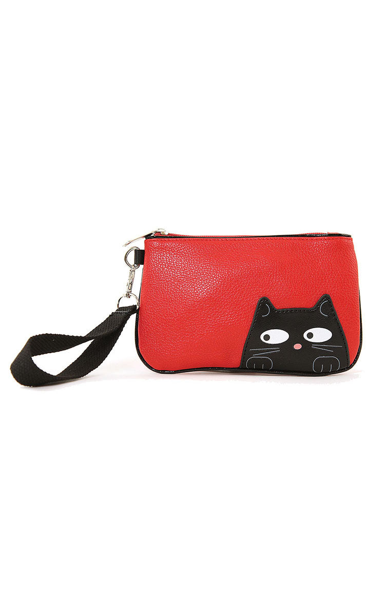 Peeking Red Kitty Wristlet by Sleepyville Critters