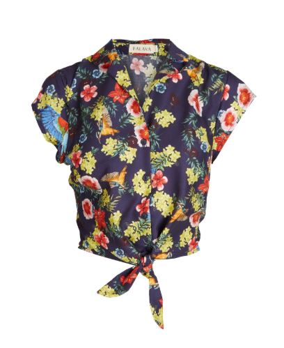 Navy Tropical Birds Tencel Peggy Top by Palava