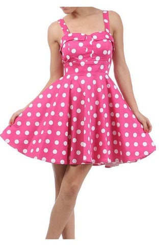Pink Polka Dot Tie-Back Mini Dress by Ixia