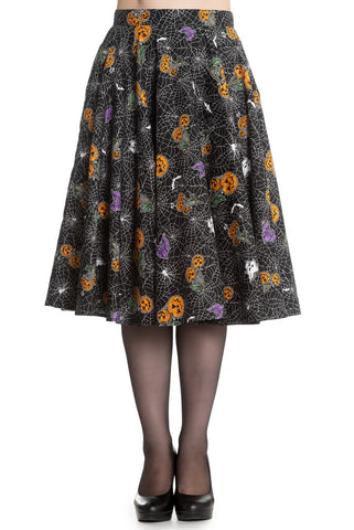 Harlow Halloween Pumpkin and Spiderweb Skirt by Hell Bunny