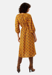 Belt Up Midi Dress in Mustard by Traffic People