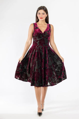 V-Neck Dress in Burnout Burgundy Velvet by Eva Rose