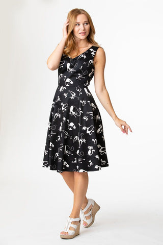 Black & White Cat Print V-Neck Dress by Eva Rose
