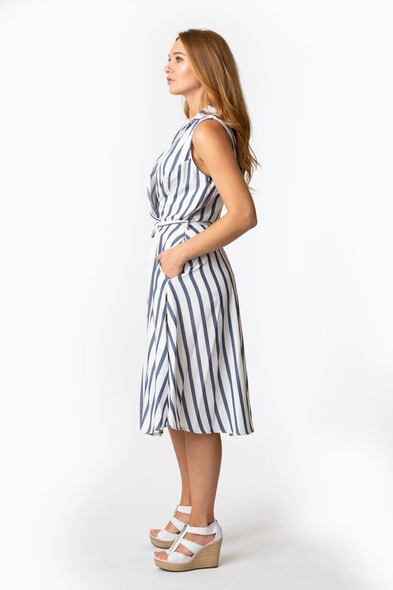 Blue and White Stripe Shirtdress by Eva Rose