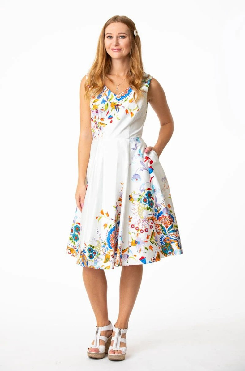 """The Yolanda"" White Floral Border Print Dress by Eva Rose"