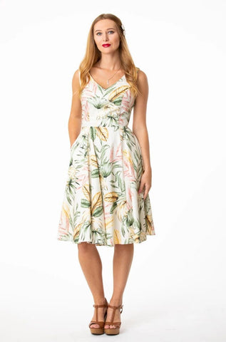 Tropical White V-Neck Dress by Eva Rose