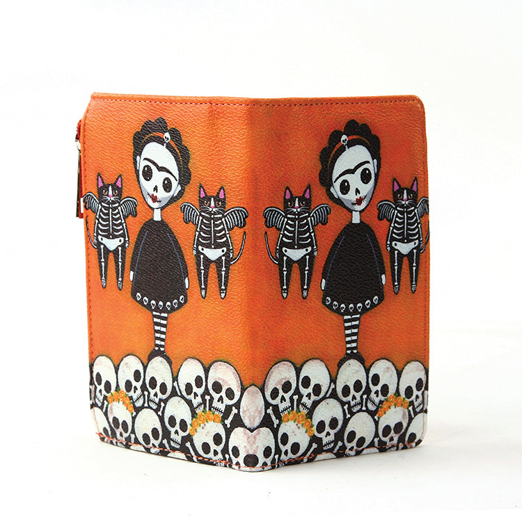 Sugar Skull Girl With Flying Cats Wallet
