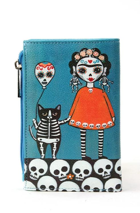 Sugar Skull with Balloon Cat Wallet