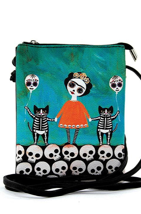 Teal & Orange Day of the Dead Crossbody Bag