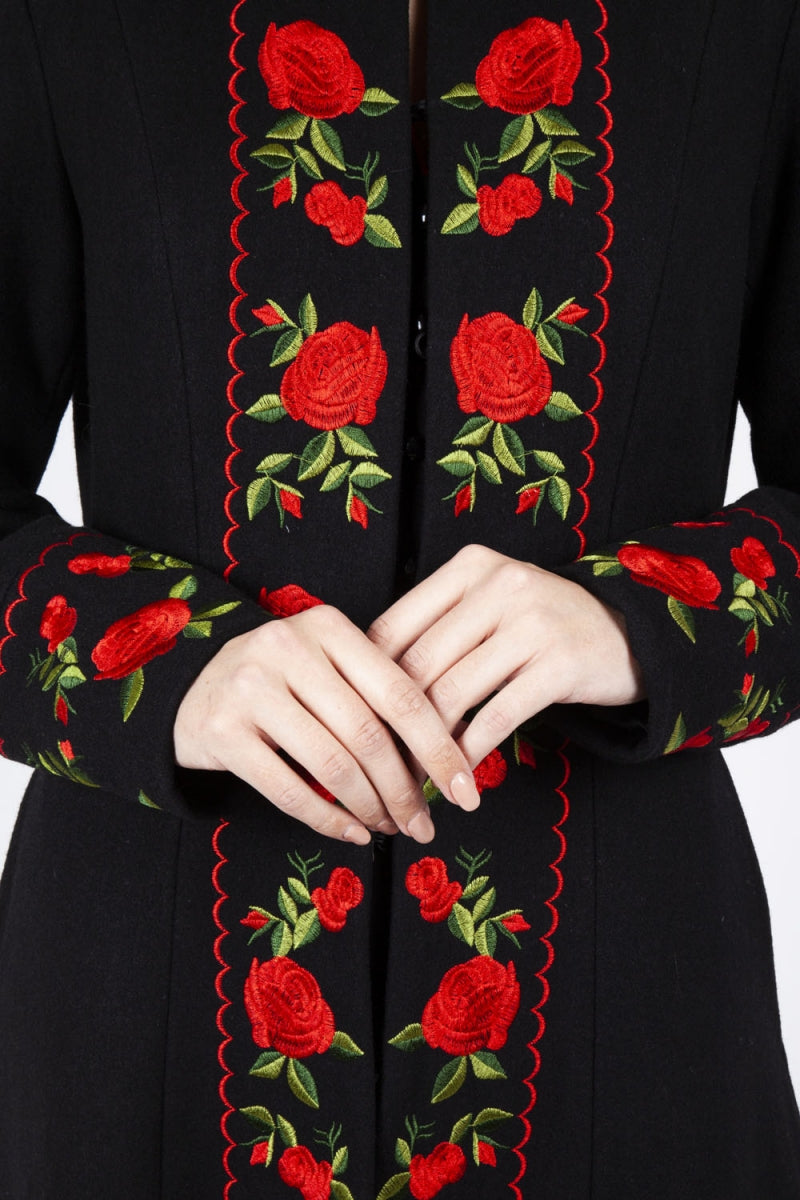 Rosalind Embroidered Floral Coat by Voodoo Vixen