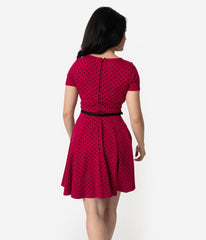 Raspberry & Black Polka Dot Short Sleeve Knit Dress by Unique Vintage