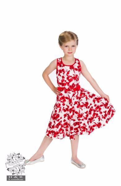 Hearts & Roses White & Red Floral Girls Dress