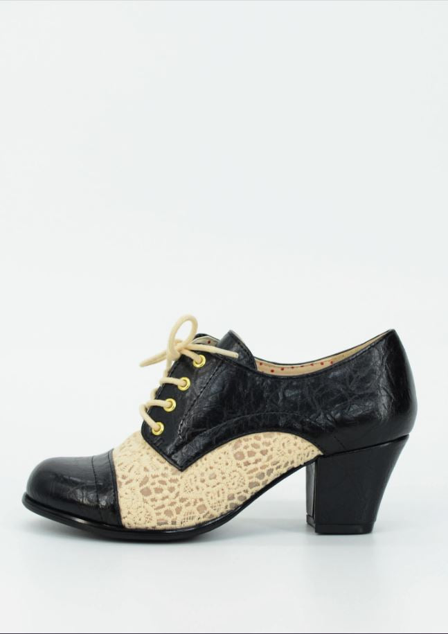 Rissa Heel in Black & Cream Crochet by B.A.I.T. Footwear