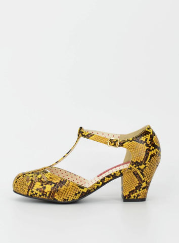 Robbie Heel in Yellow Python by B.A.I.T. Footwear