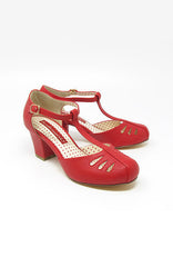 Robbie in Red Matte Heel T-Strap by B.A.I.T.