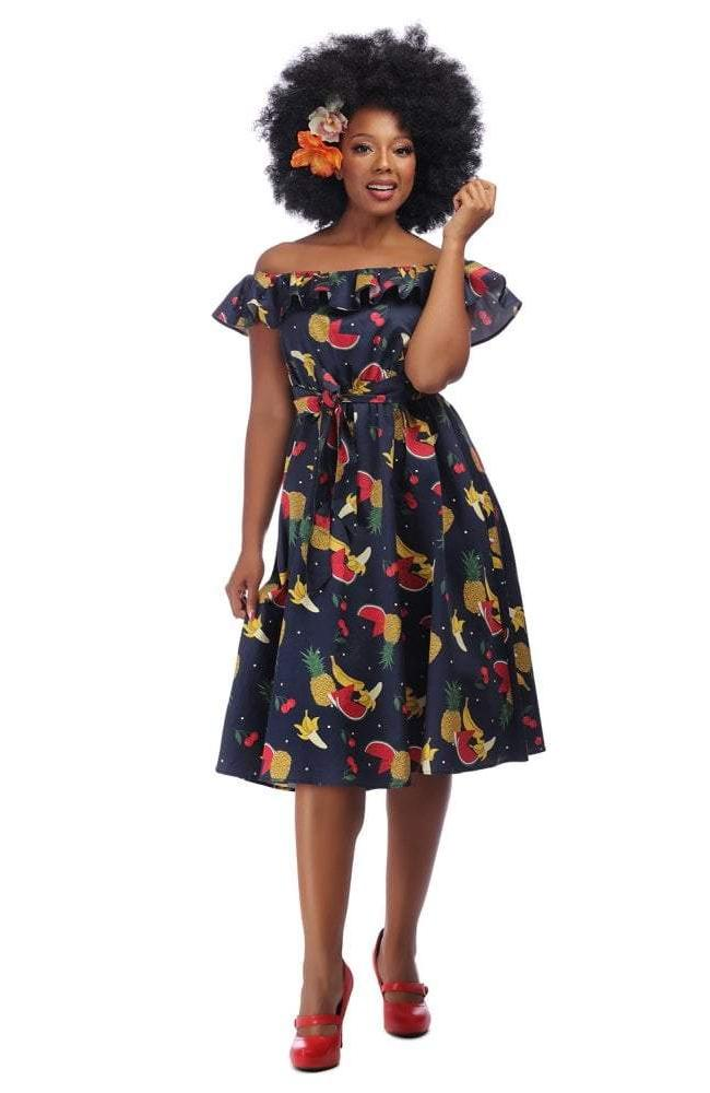 Ronda Polka Dot & Fruit Swing Dress