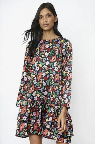 Floral Sateen Ruffle Dress Tunic by Compania Fantasica