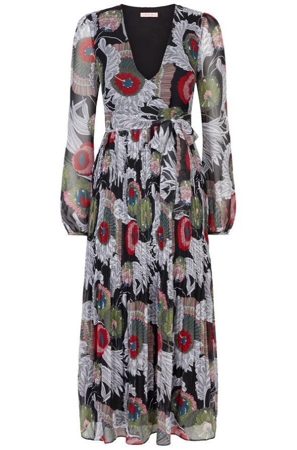 Chiffon Pleated Fathomless Midi Dress In Floral Print by Traffic People