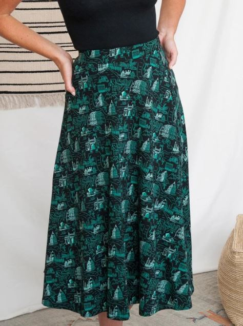 Simone Voyager Midi Skirt in Black by Mata Traders