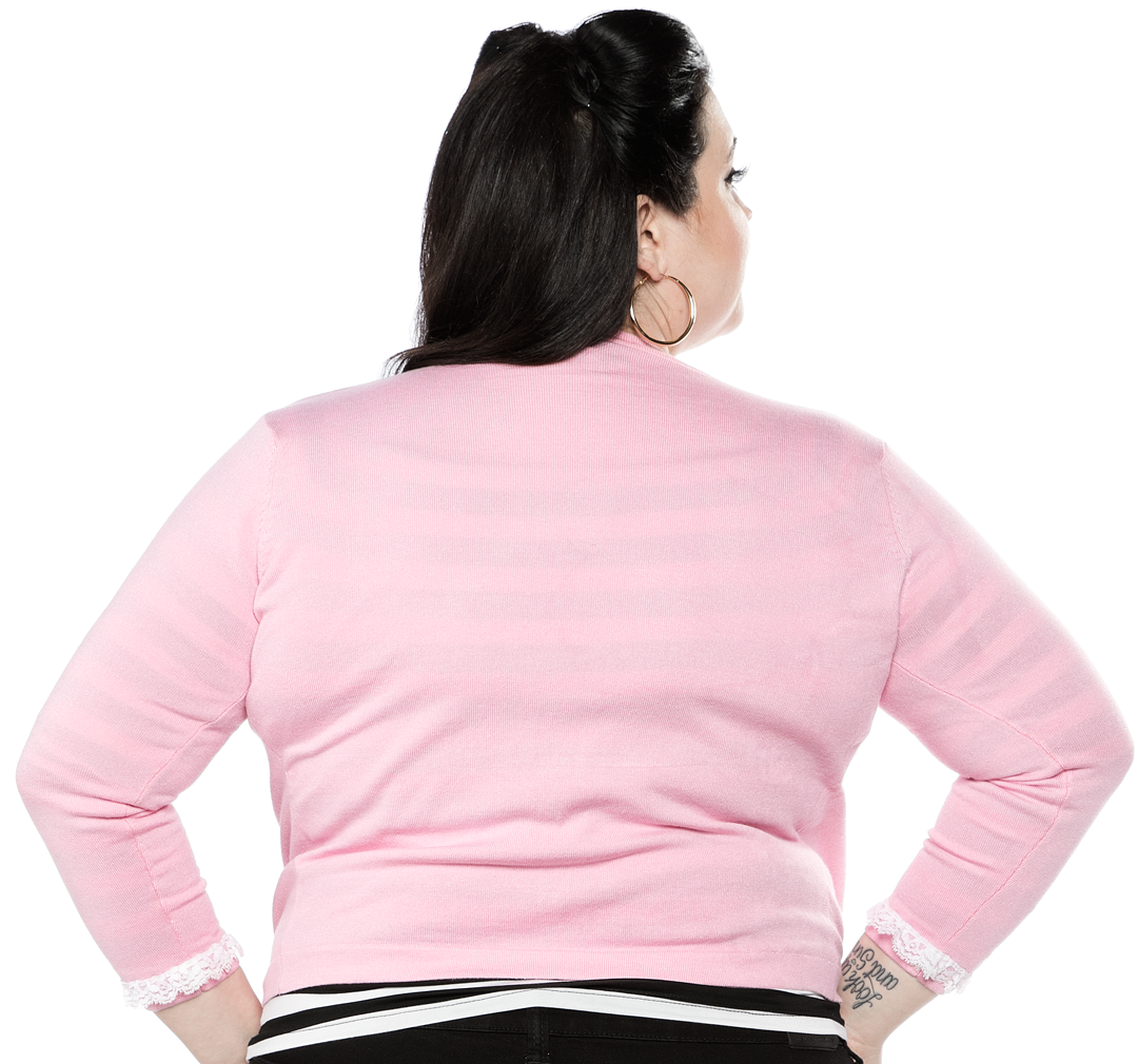 Cropped Cardigan in Pink Spiderweb by Sourpuss Clothing
