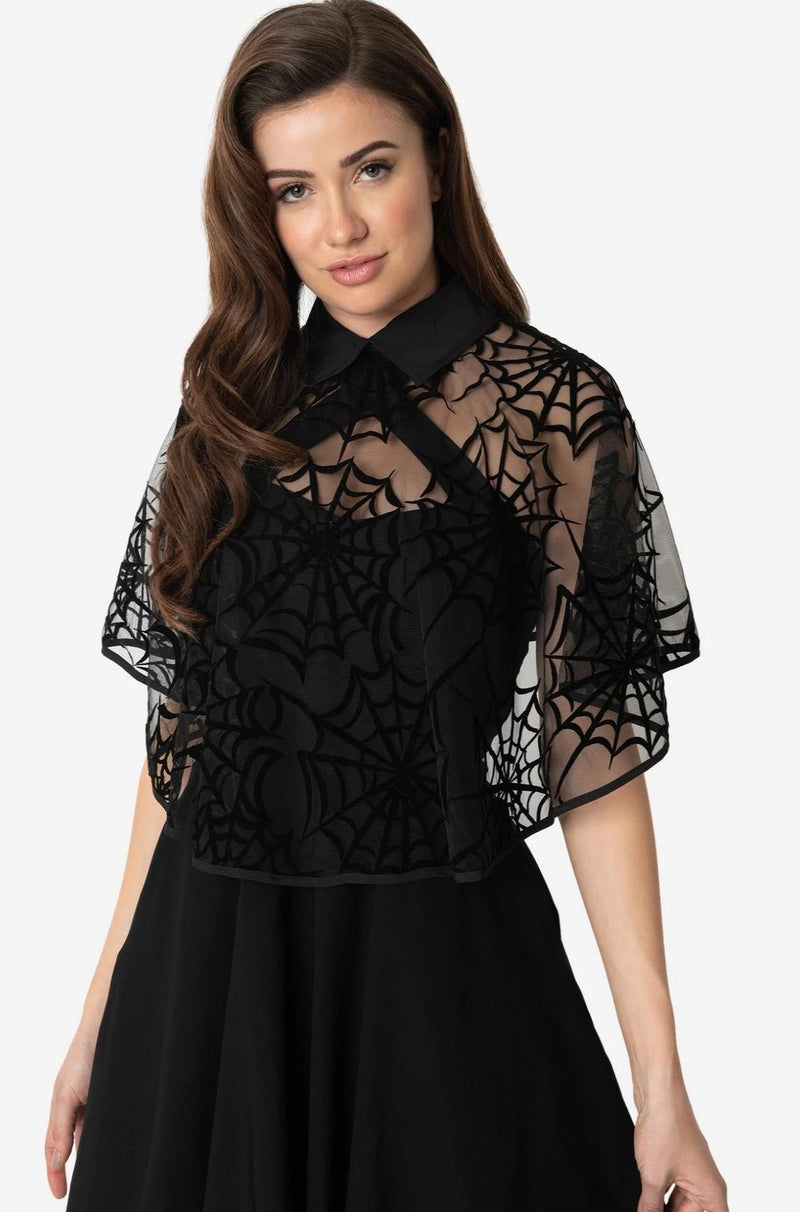 Black Spiderweb Capelet