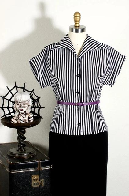Black and White Striped Top by The Oblong Box Shop