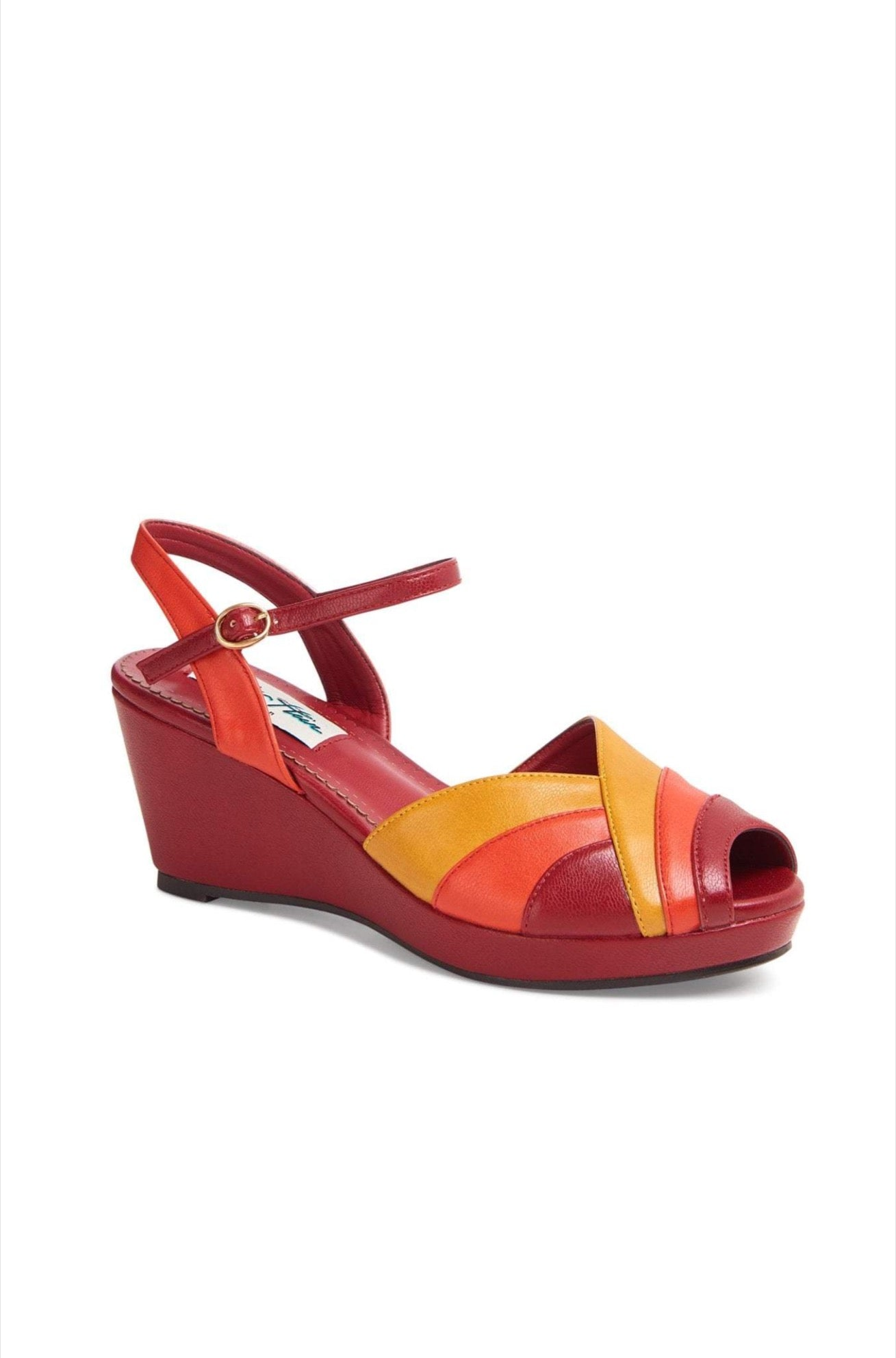 Tonya Wedge Sandal in Orange & Red by Lulu Hun