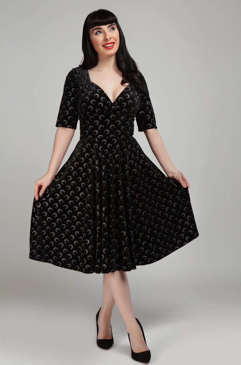 Trixie Glitter Moon Velvet Dress by Collectif