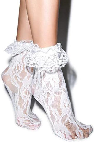 Lace Ankle Socks with Lace Ruffles in Multiple Colors
