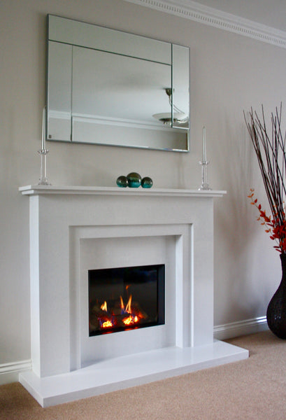 Blazes fire surrounds, gazco riva, gas fire, hall in the wall, white surround, modern