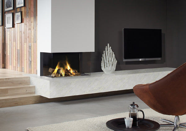 Dru triple sided fire, blazes fire surrounds, gateshead, Newcastle, modern statement fire.