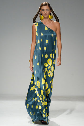 Theo patterned silk gown