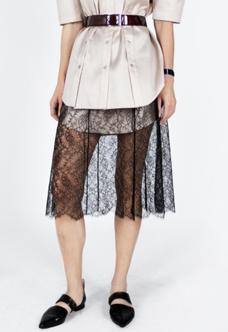 Silk lined lacy skirt with knitted waistline