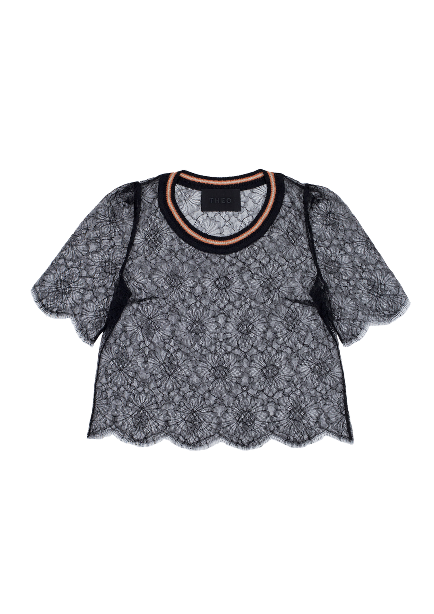 Lacy top with knitted neckline