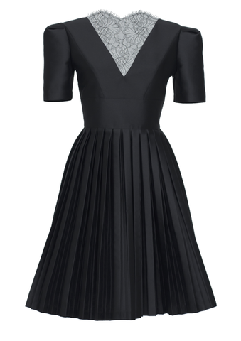 Pleated dress with laced back