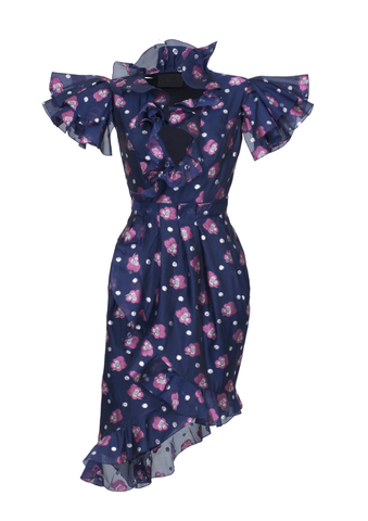 Wrap dress with volants and frilling