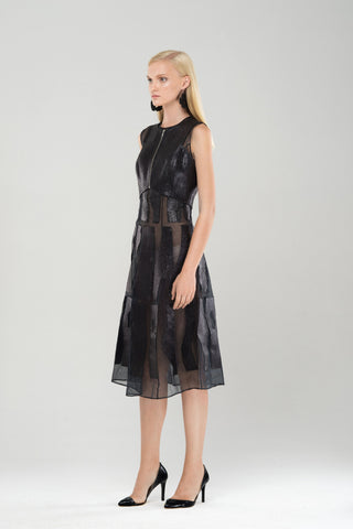 Organdy dress wth leather details